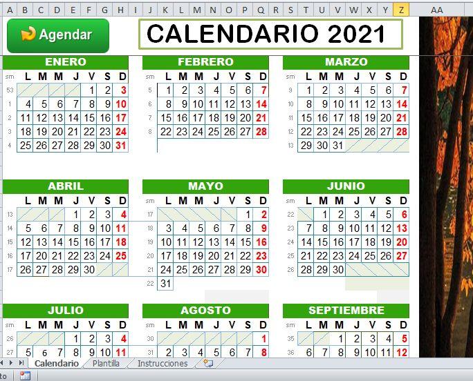 Calendario Excel 2021